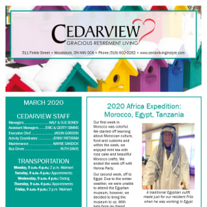 March Cedarview Gracious Retirement Living newsletter