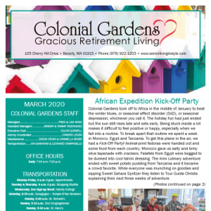 March Colonial Gardens Gracious Retirement Living newsletter