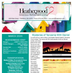 March Heatherwood Gracious Retirement Living Newsletter