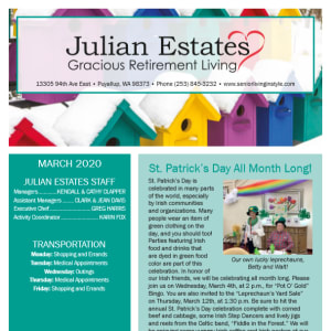 March Julian Estates Gracious Retirement Living newsletter