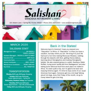 March Salishan Gracious Retirement Living newsletter