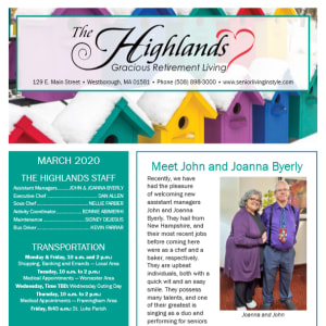 March The Highlands Gracious Retirement Living newsletter