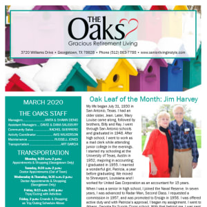 March The Oaks Gracious Retirement Living newsletter