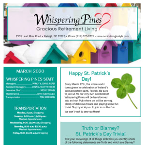 March Whispering Pines Gracious Retirement Living newsletter