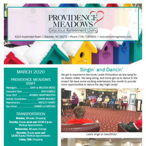 March Providence Meadows Gracious Retirement Living newsletter