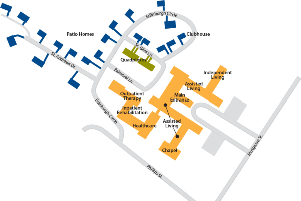 Campus map of The Clinton Presbyterian Community in Clinton