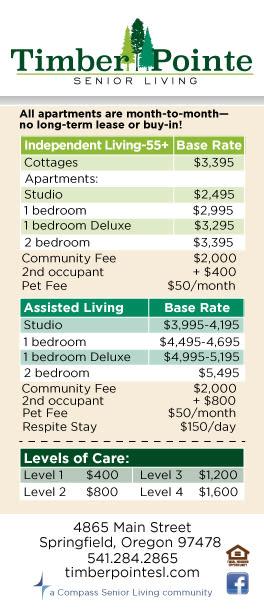 Timber Pointe Senior Living rates