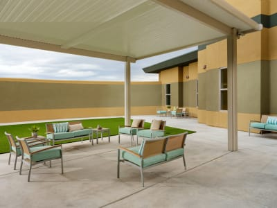 Outside patio at Avenir Senior Living in Scottsdale, Arizona.