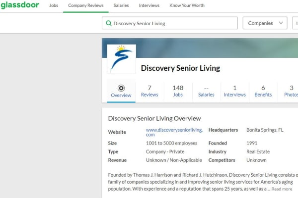 A glassdoor screenshot for Discovery Senior Living in Bonita Springs, Florida