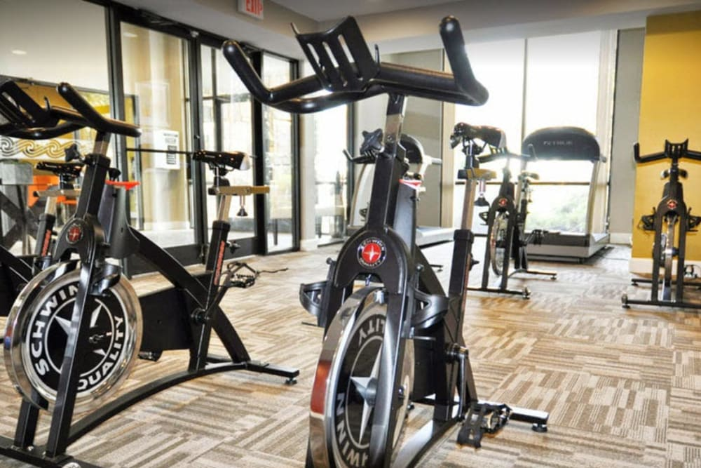 Gym with sleek spin bikes at Goldelm at Metropolitan in Knoxville, Tennessee