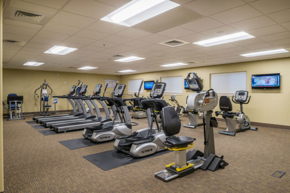 An onsite gym for residents at Touchmark at Meadow Lake Village in Meridian, Idaho