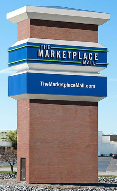 The Marketplace Mall sign near Wedgewood West in Rochester, New York