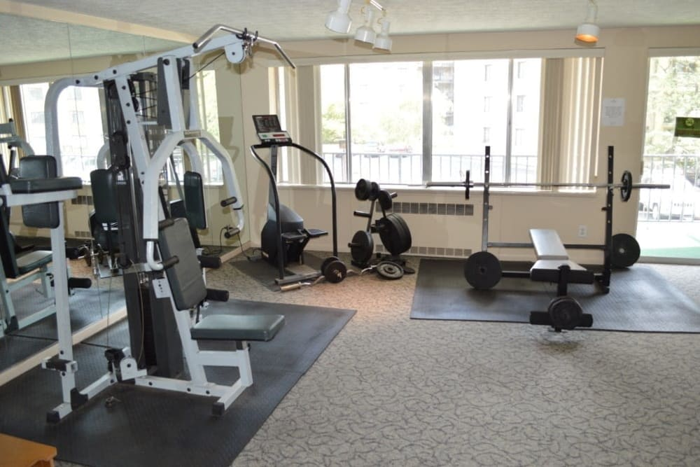 Fitness center at Oak Hill Terrace in Rochester, New York