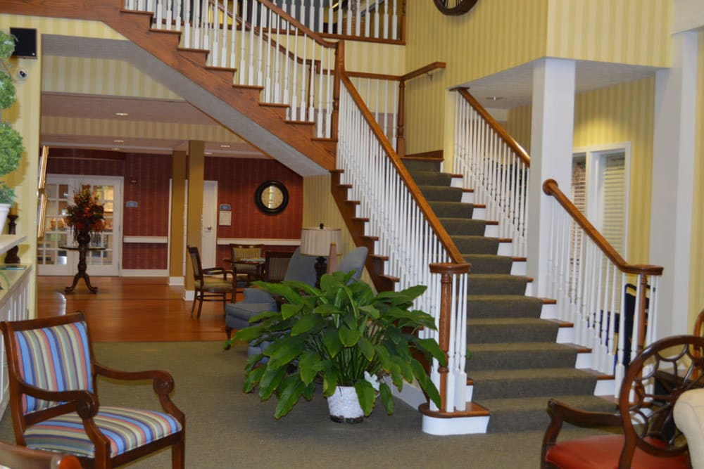 A large staircase at The Willows at Springhurst in Louisville, Kentucky.