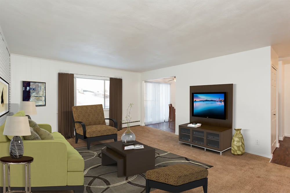 Spacious living room at Wedgewood West in Rochester, New York