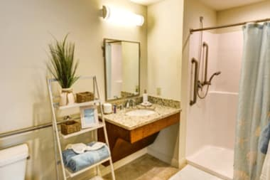 Resident bathroom at The Meridian at Waterways in Fort Lauderdale, Florida.