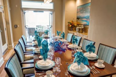 Private dining area at The Meridian at Waterways in Fort Lauderdale, Florida.