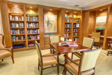 Resident library at The Meridian at Waterways in Fort Lauderdale, Florida.
