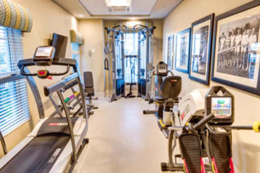 Resident fitness center at The Meridian at Waterways in Fort Lauderdale, Florida.