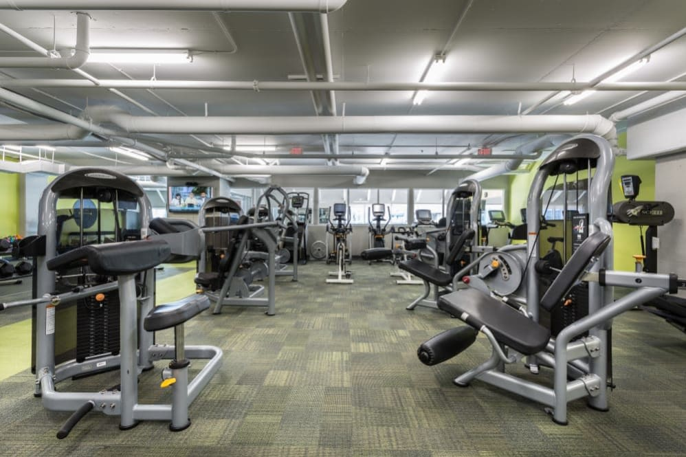 Fitness center at The Heights at Park Lane in Dallas, Texas