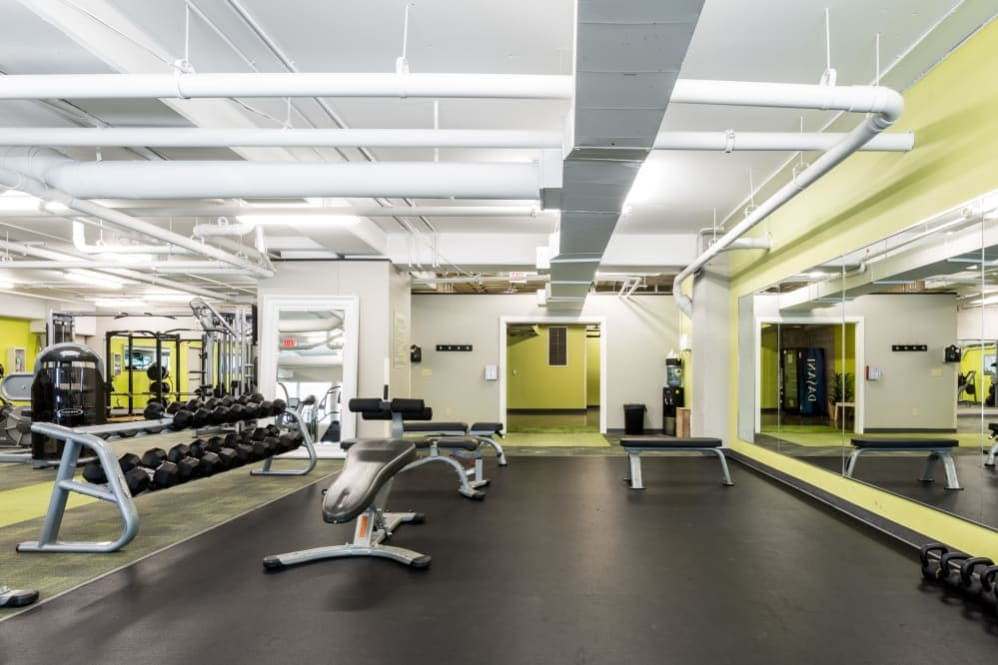 Workout room at The Heights at Park Lane in Dallas, Texas