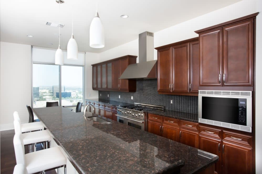 Luxury kitchen in the clubhouse at The Heights at Park Lane in Dallas, Texas