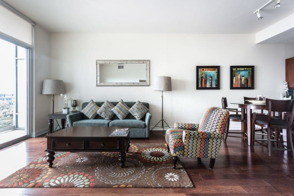 Living room layout at The Heights at Park Lane in Dallas, Texas