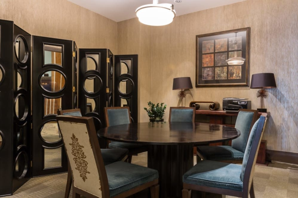 Dining room layout at The Heights at Park Lane in Dallas, Texas