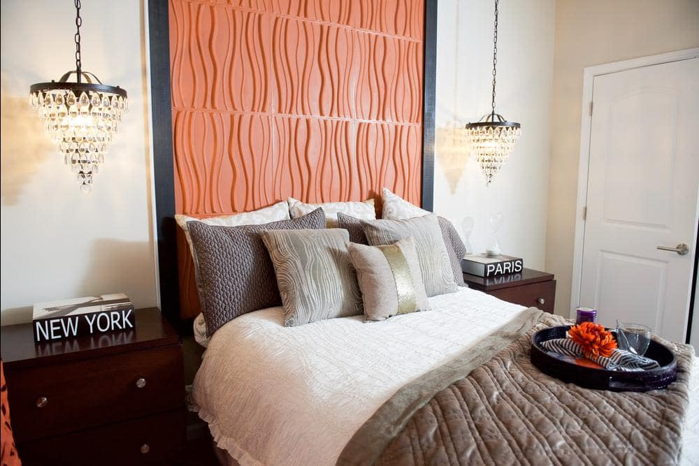 Luxury bedroom at apartments in Raleigh, North Carolina