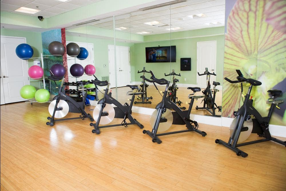 Gym and bikes at Manor Six Forks in Raleigh