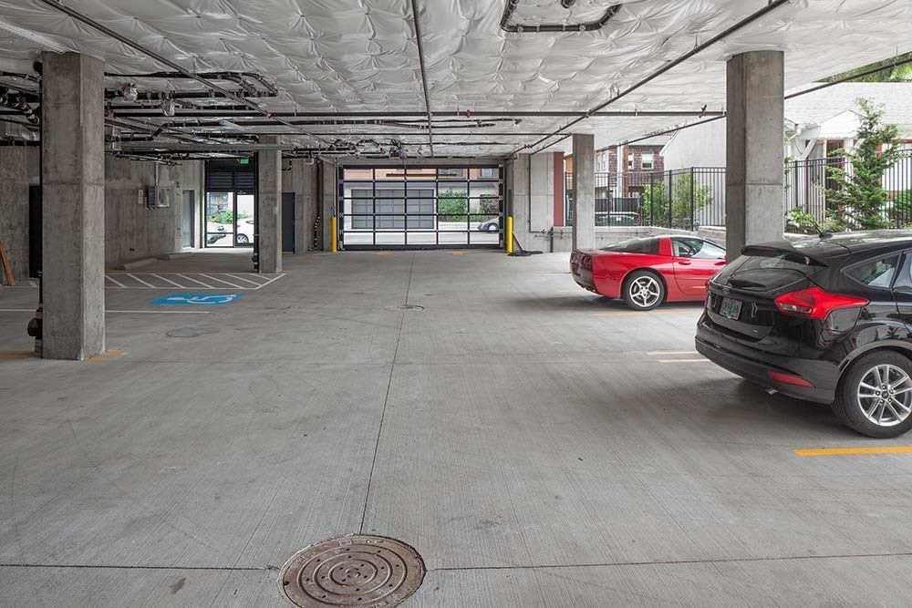 Covered parking at Montessa in Portland, Oregon