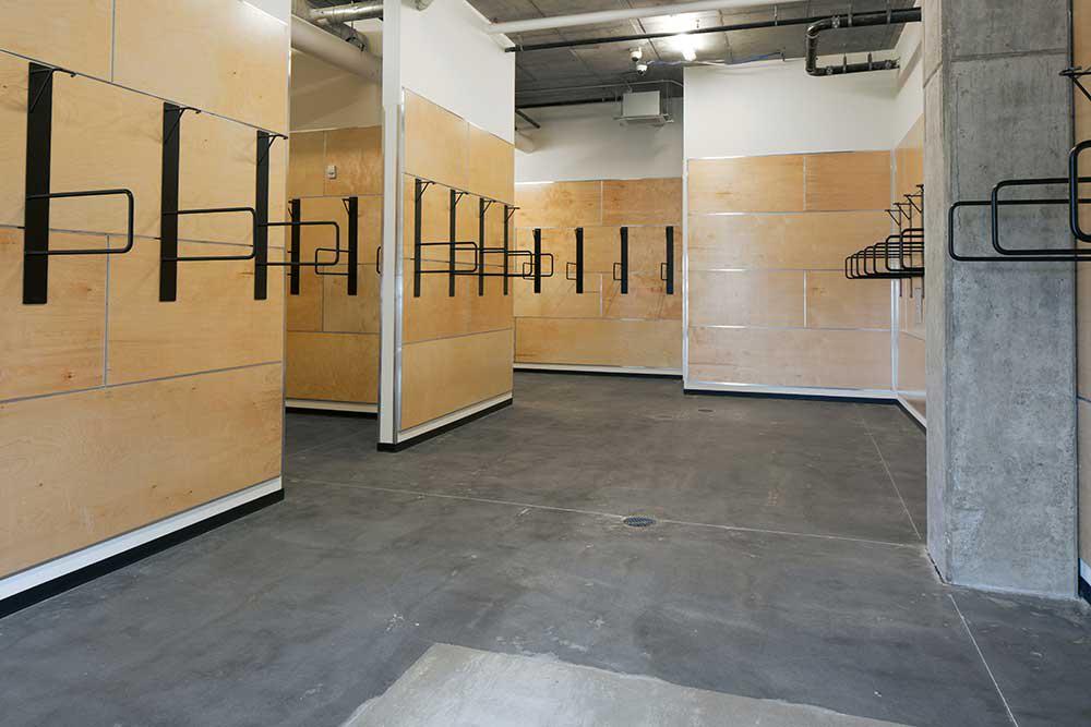Large bike storage area at Montessa in Portland, Oregon
