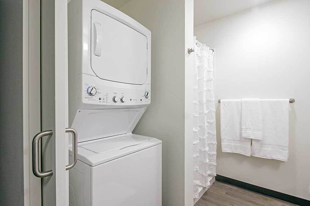Stack-able washer and dryer at Montessa in Portland, Oregon