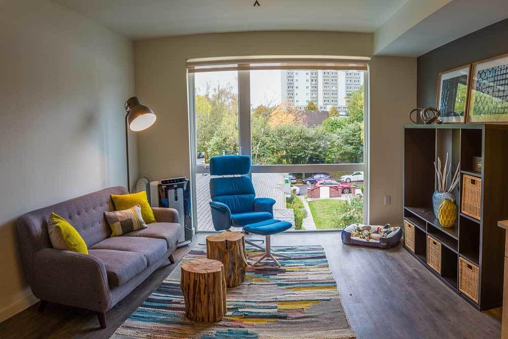 Bright living room at Montessa in Portland, Oregon