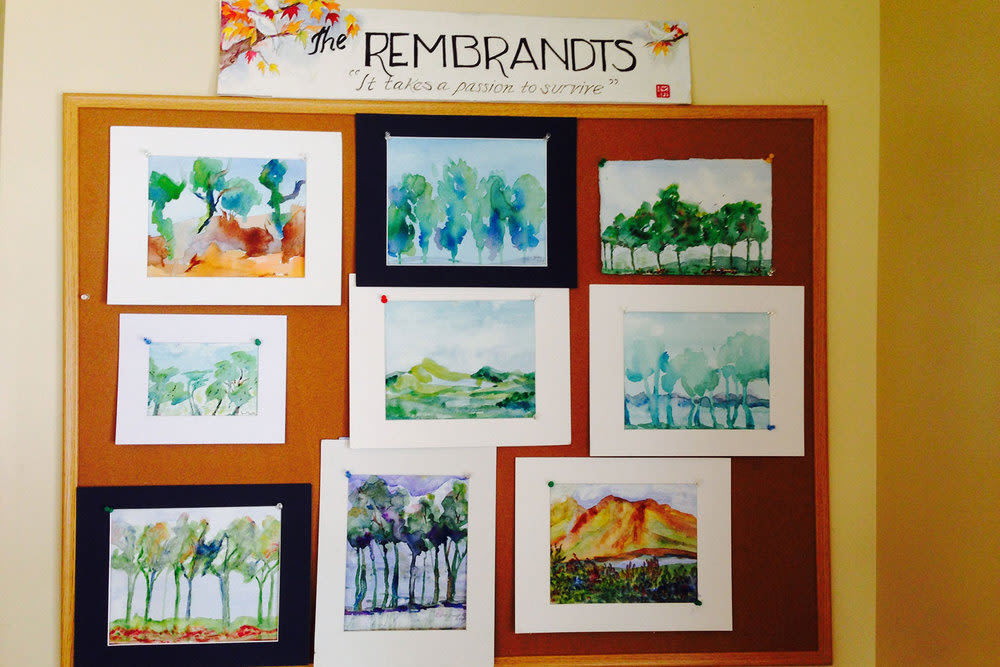 The Rembrandt board with paintings at Gables of Ojai in Ojai, California