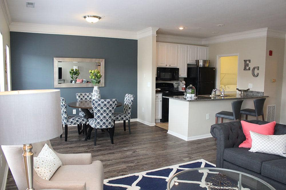 Bright living area at Easton Commons in Columbus, Ohio