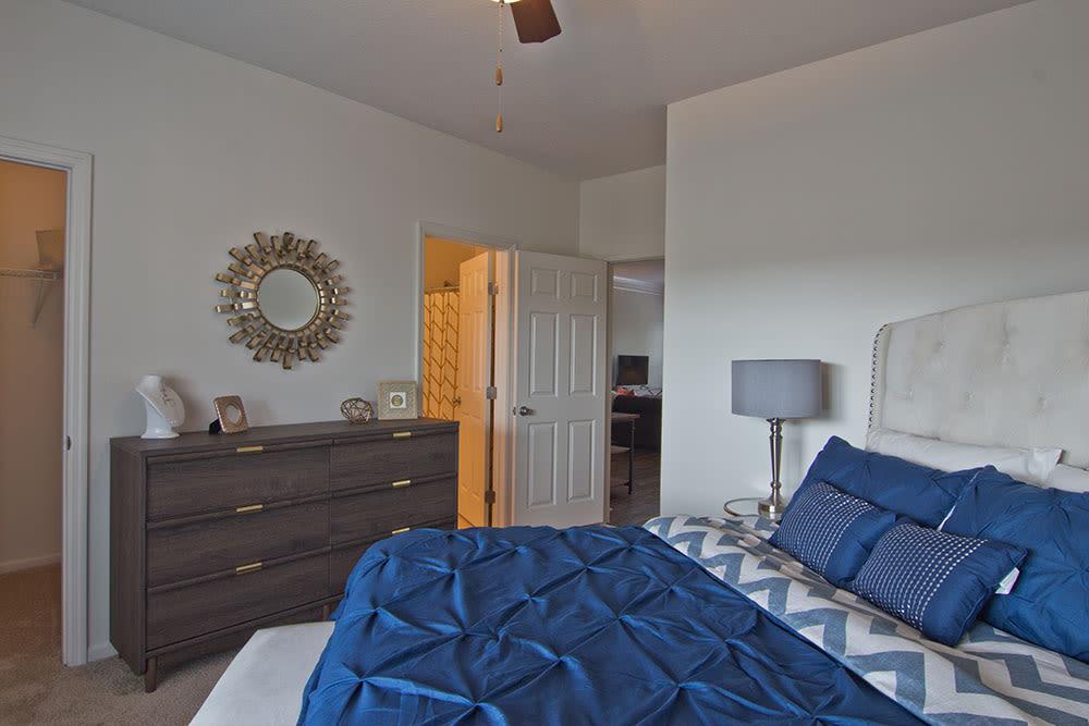 Cozy bedroom at Easton Commons in Columbus, Ohio