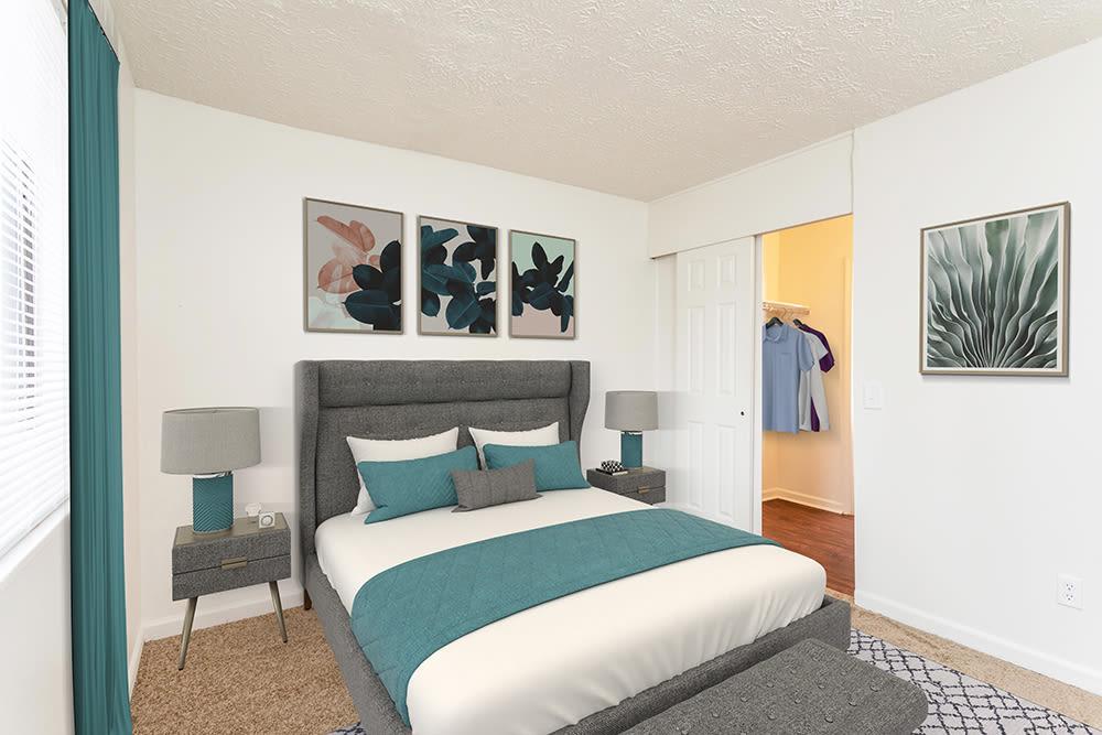 Bright bedroom at Brockport Landing in Brockport, New York
