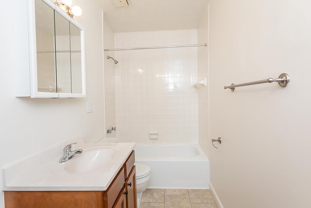 Bright bathroom at Brockport Landing in Brockport, New York