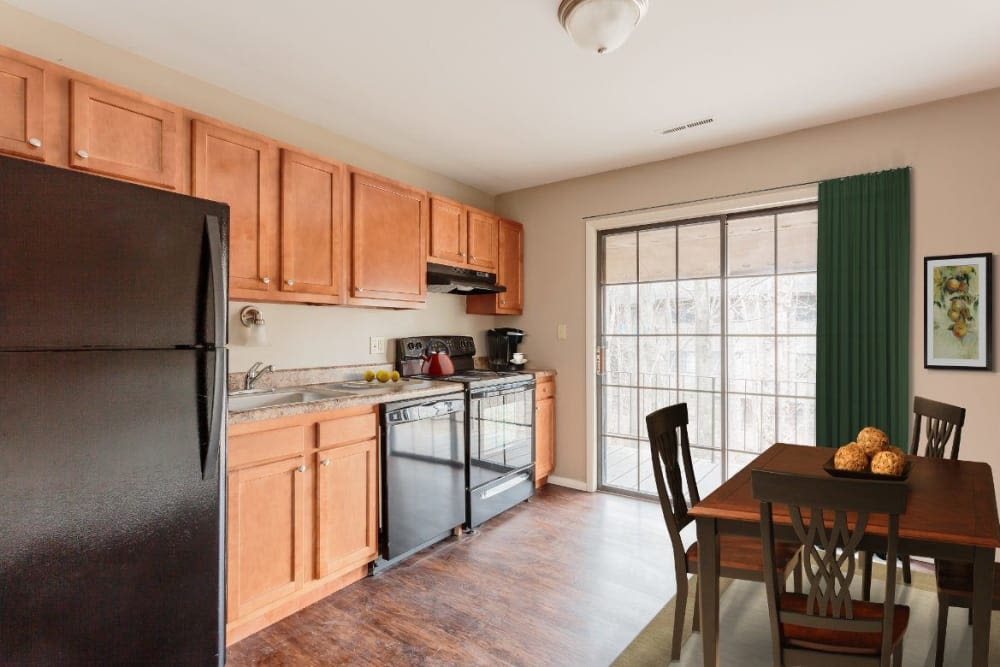 Fully-equipped kitchen at The Residences at Covered Bridge in Liverpool, New York