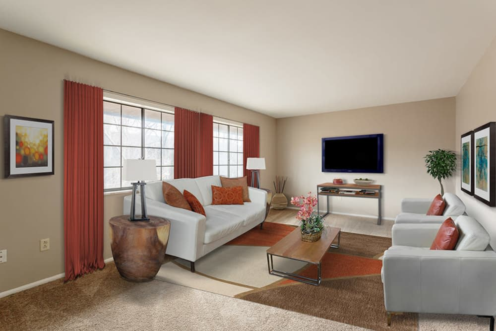 The Residences at Covered Bridge offers a living room in Liverpool, New York