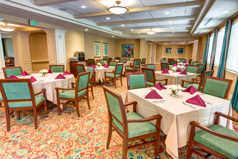 Resident dining area at The Meridian at Boca Raton in Boca Raton, Florida.