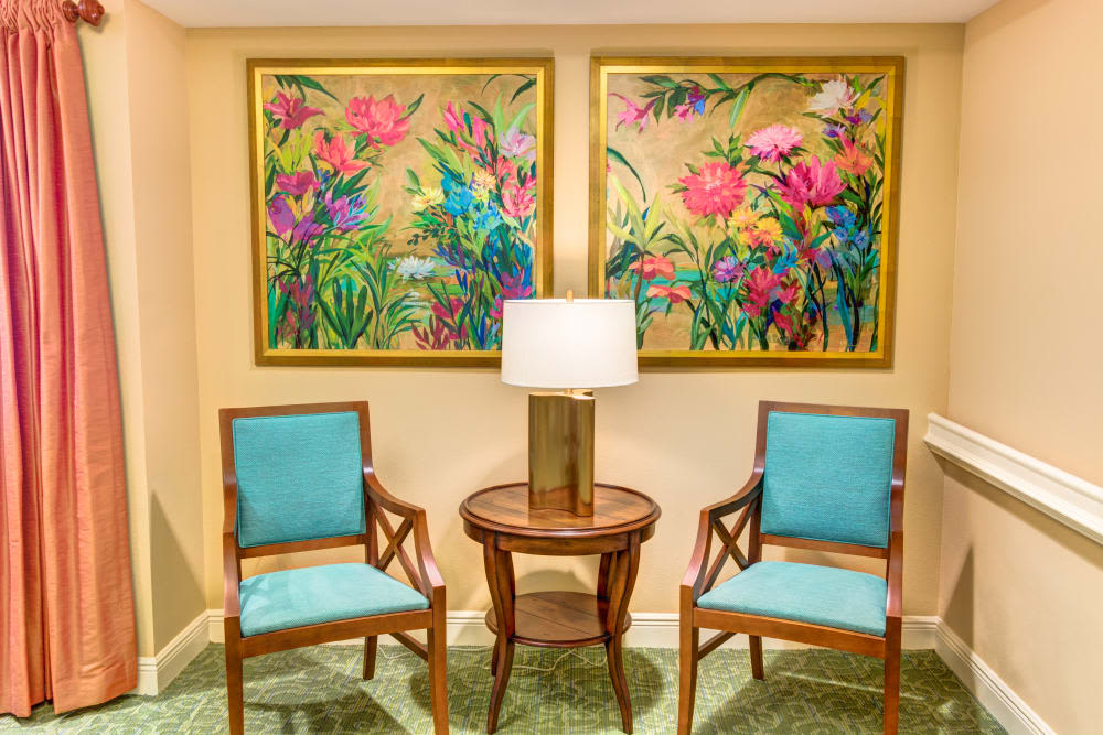 Sitting area with art at The Meridian at Boca Raton in Boca Raton, Florida.