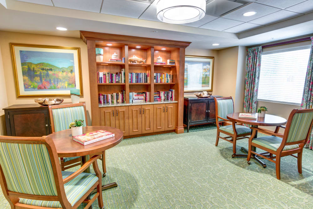 Library and activity room at The Meridian at Boca Raton in Boca Raton, Florida.