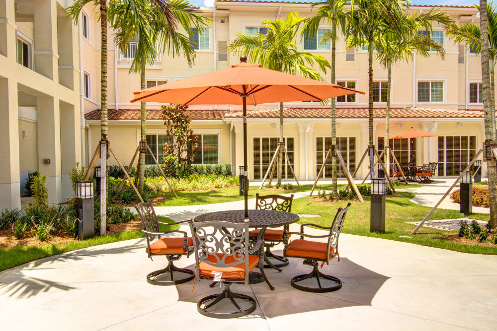 Outdoor patio at The Meridian at Boca Raton in Boca Raton, Florida.