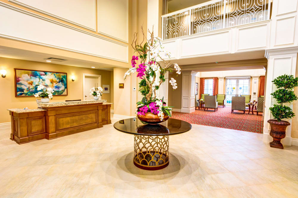 Reception area at The Meridian at Boca Raton in Boca Raton, Florida.