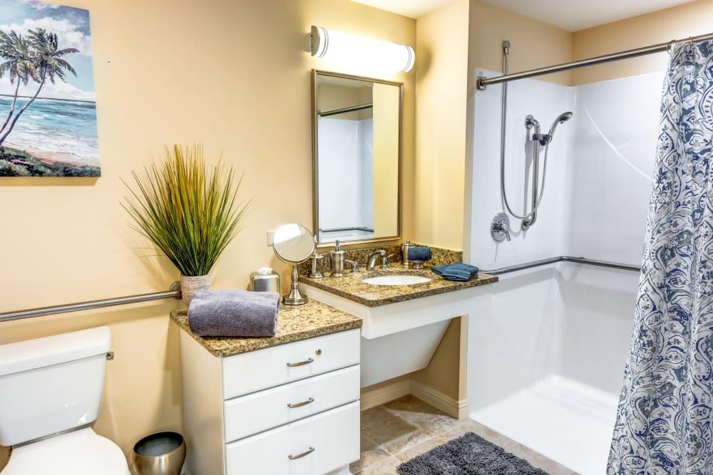 Apartment bath at The Meridian at Boca Raton in Boca Raton, Florida
