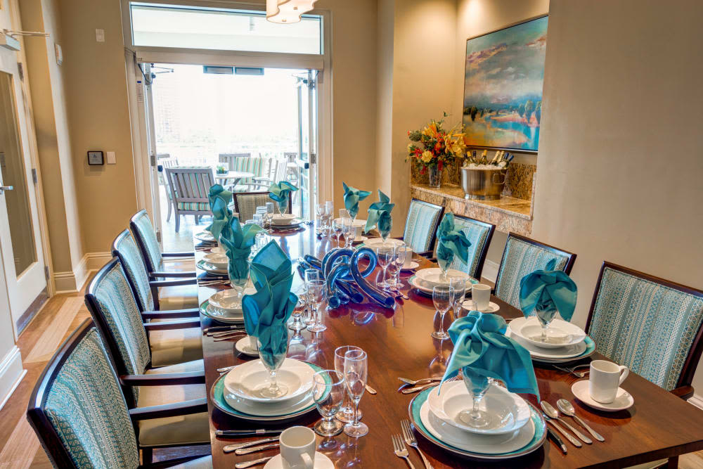 Private dining room at The Meridian at Waterways in Fort Lauderdale, Florida