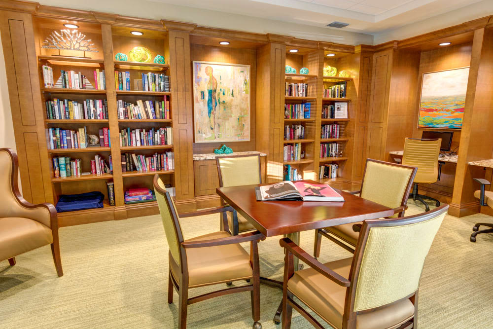 Library at The Meridian at Waterways in Fort Lauderdale, Florida.