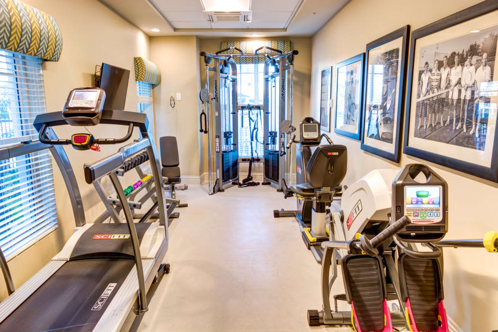 Onsite gym at The Meridian at Waterways in Fort Lauderdale, Florida.